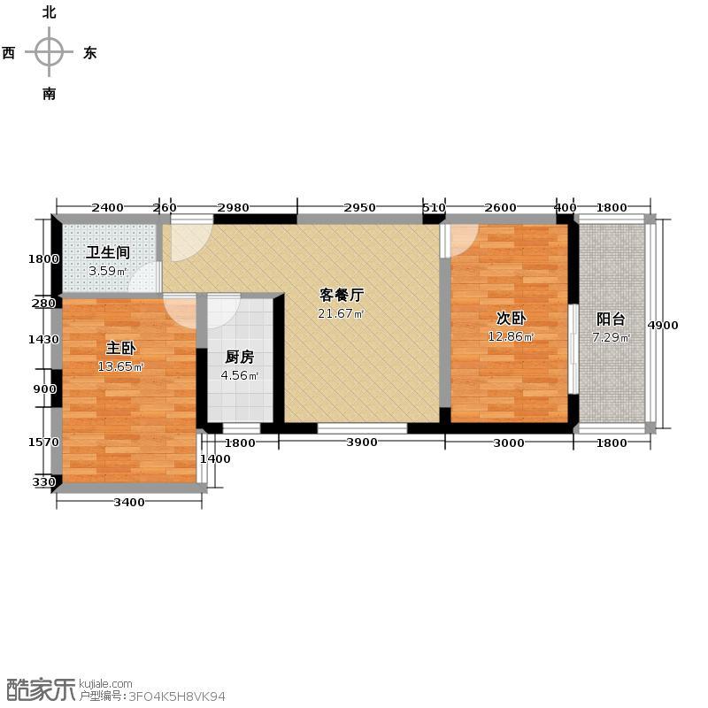 天伦御城龙脉85.68㎡3-02简约紧凑卧室超大落地景观阳台户型10室