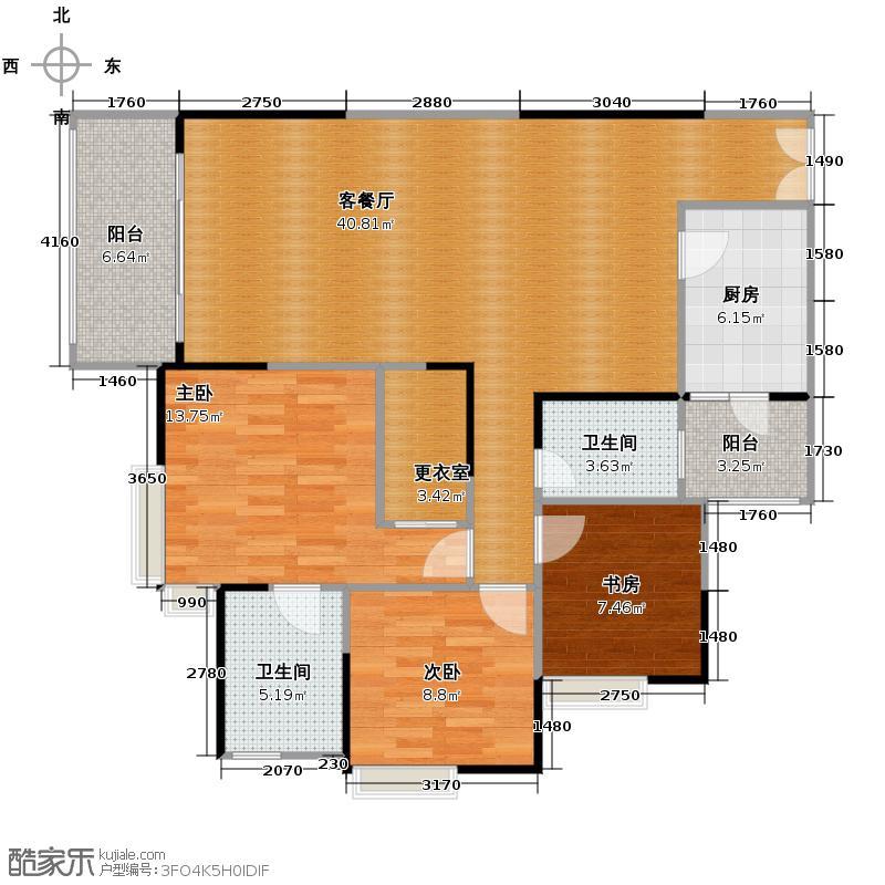 金辉苹果城101.73㎡房型户型3室1厅2卫1厨