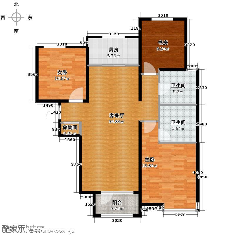保利海棠湾130.00㎡户型2室2厅1卫