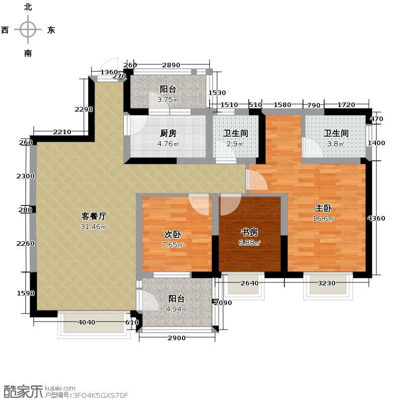 水韵华府116.00㎡15号楼标准层K1户型3室1厅2卫1厨