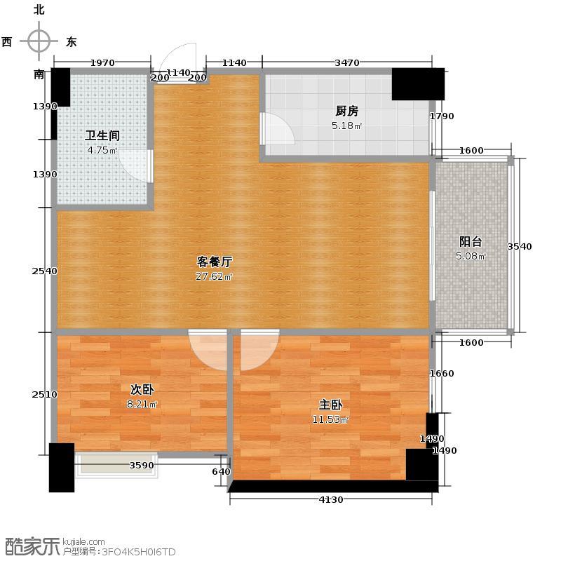 东安叁城92.71㎡户型2室1厅1卫1厨