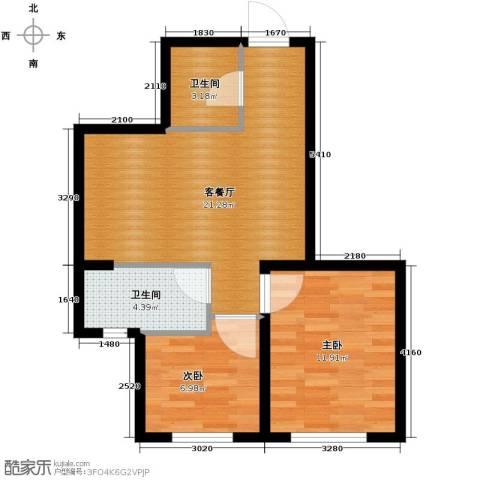 瑞家景峰2室2厅1卫0厨71.00㎡户型图
