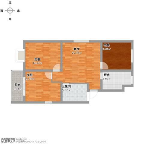 西水湾家园3室1厅1卫1厨103.00㎡户型图