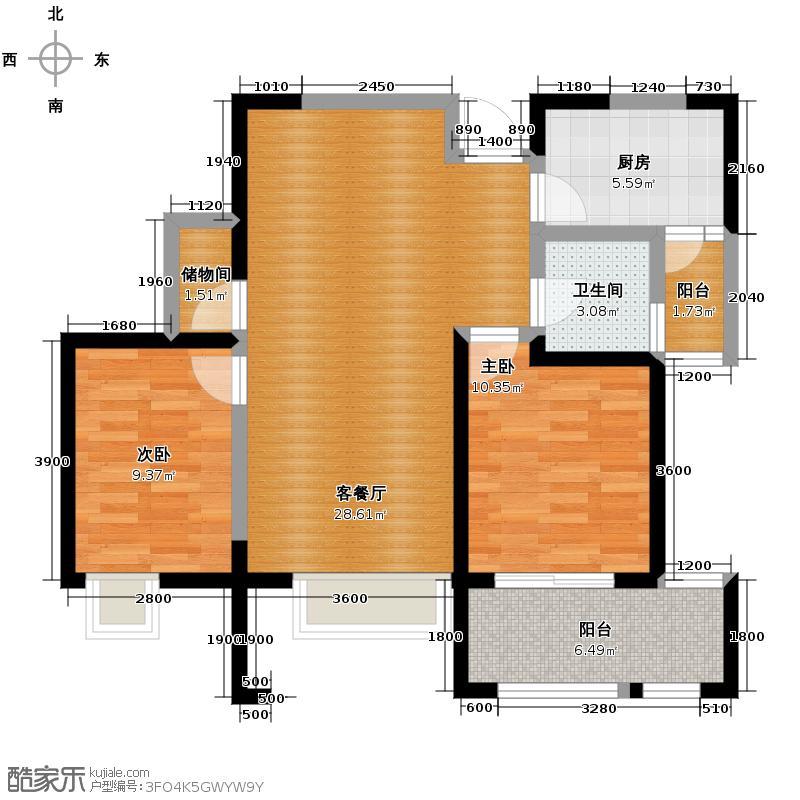 缤纷南郡87.20㎡C2b奇数层赠南向客厅南向双卧独立生活阳台户型10室