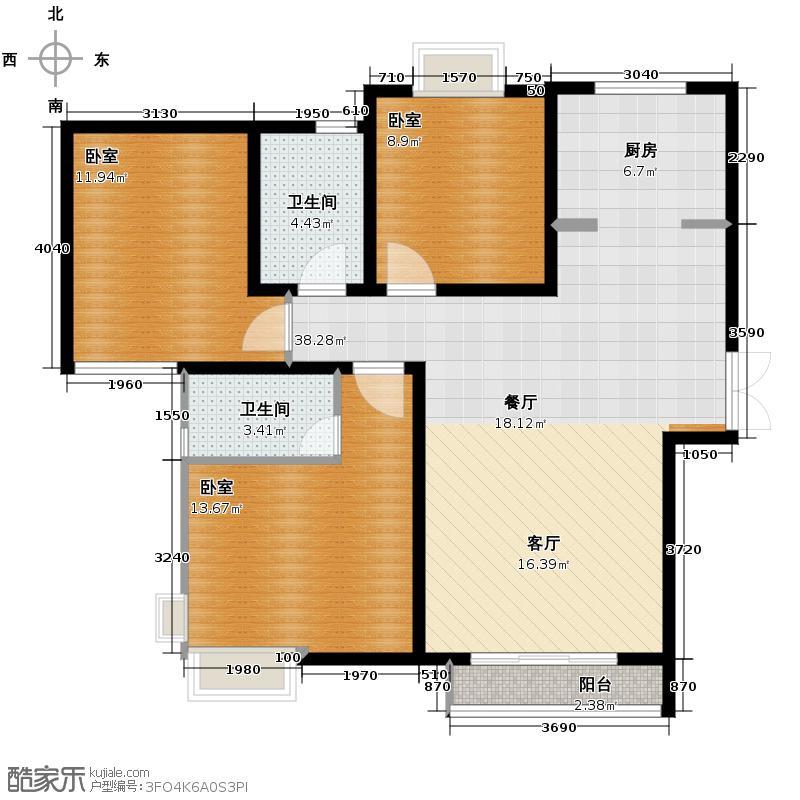 爱尚公寓127.00㎡户型3室2厅2卫