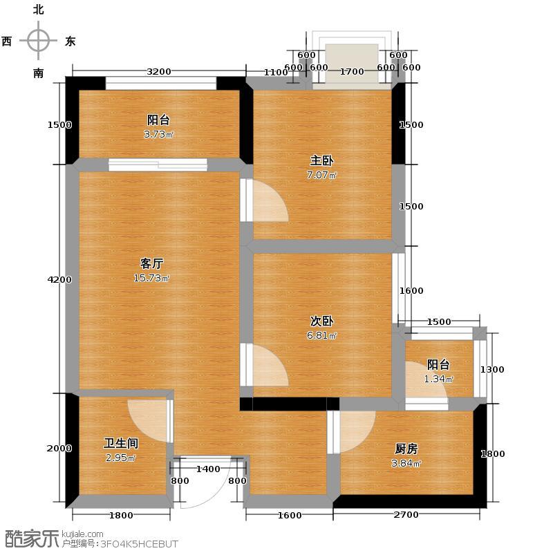 兴隆城市广场49.73㎡一期1/2号楼标准层C户型2室1厅1卫1厨