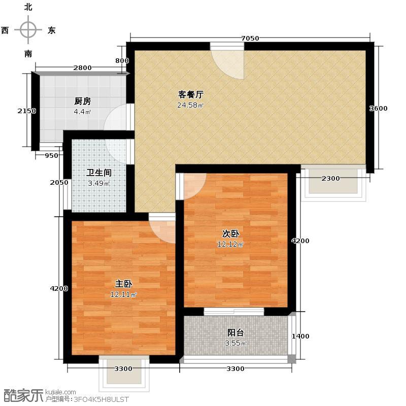 龙城铭园国际社区69.57㎡户型10室