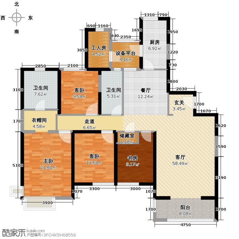 仁恒河滨花园200.00㎡6#1门02、2门0B1户型4室2厅2卫