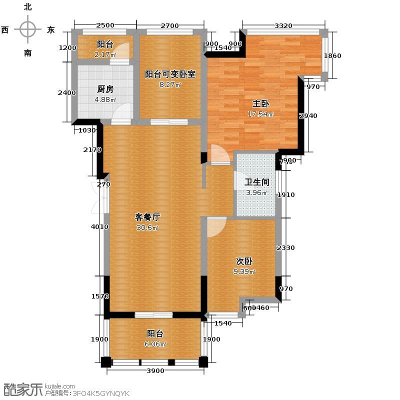 观城87.00㎡一期H3户型2室2厅1卫