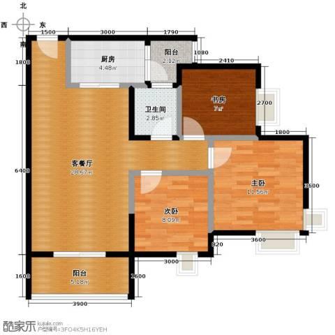 大鼎世纪滨江3室2厅1卫0厨75.00㎡户型图