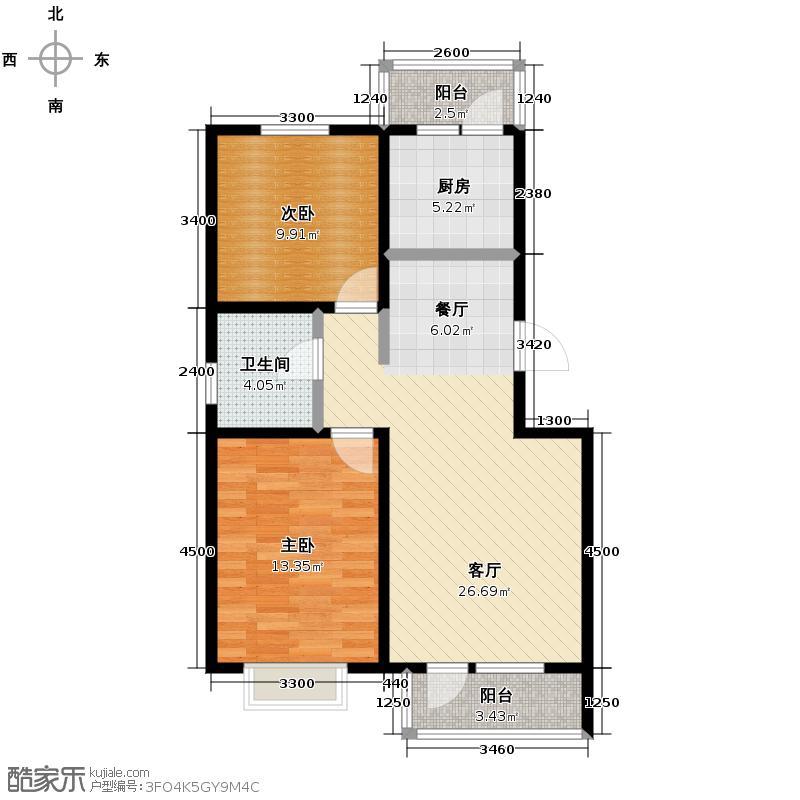 翰林雅苑85.41㎡A2户型2室2厅1卫