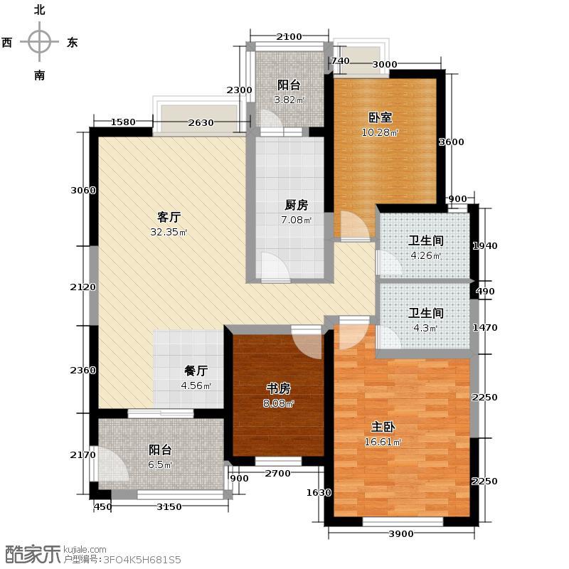 学府首座123.34㎡7-A1户型3室2厅2卫