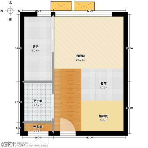 中弘北京像素1室1厅2卫0厨41.40㎡户型图