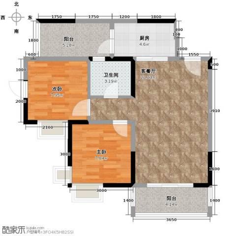 东原亲亲里2室1厅1卫1厨67.00㎡户型图