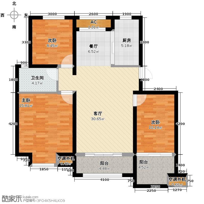 六湾99.69㎡M户型3室1厅1卫1厨
