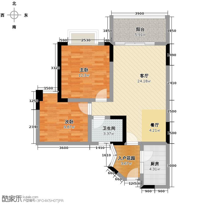 翡翠半岛国际社区80.01㎡D2户型2室1厅1卫1厨