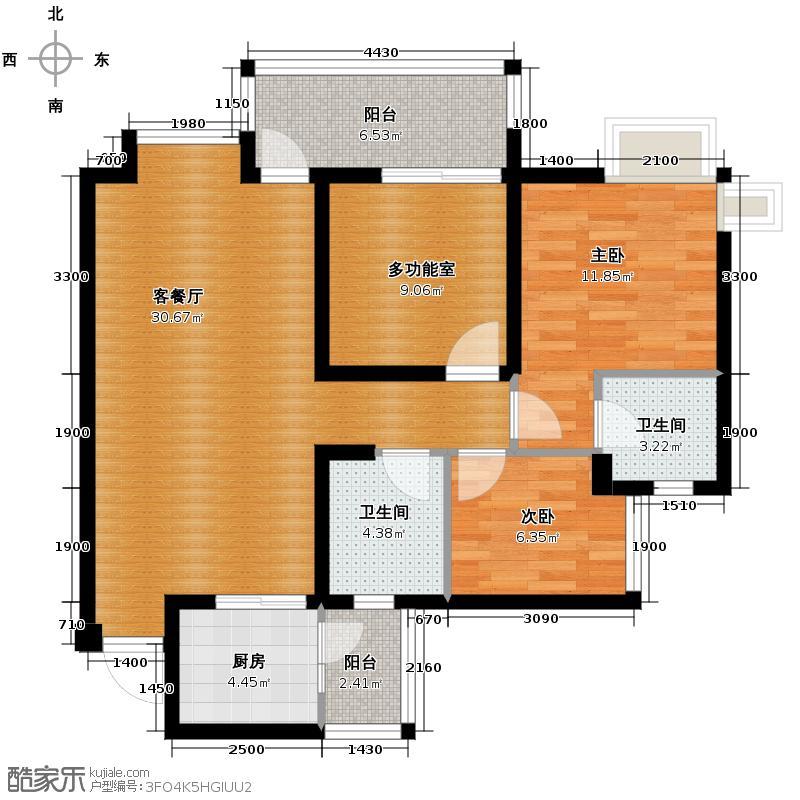 海骏达蜀都1号91.13㎡6栋B-03偶数户型2室2厅1卫