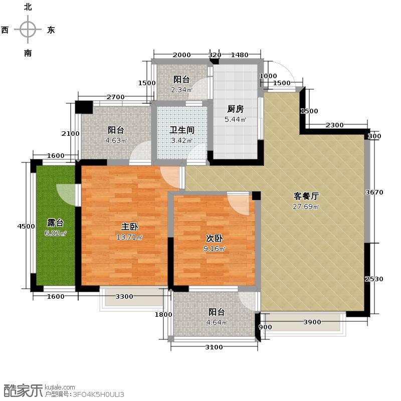 水韵华府93.00㎡14号楼标准层J1J2户型2室1厅1卫1厨
