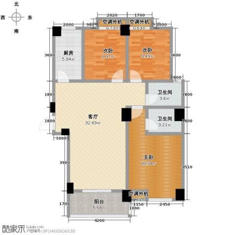 �口金利屋3室1厅2卫1厨126.00㎡户型图