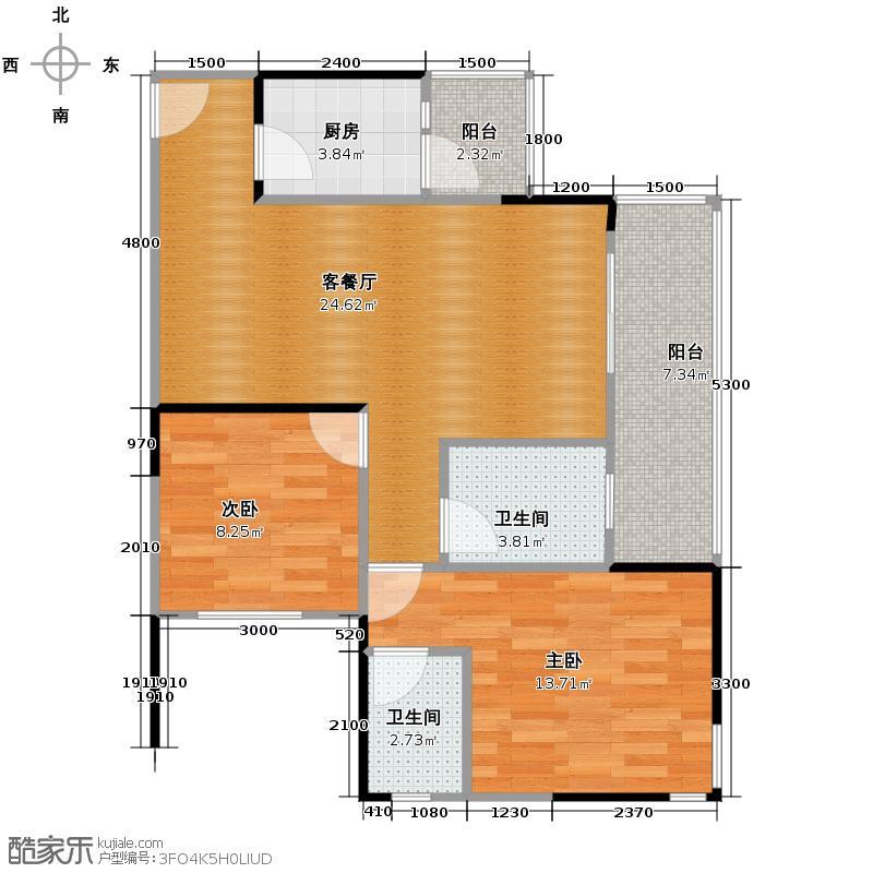 七彩华府一期1号楼3号标准层户型2室1厅2卫1厨