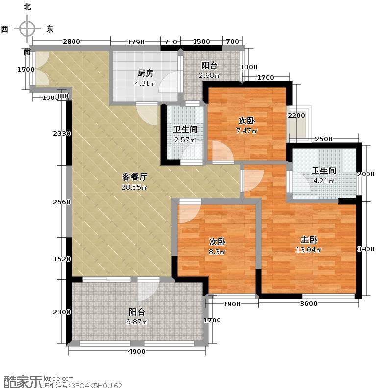 华宇金沙时代84.80㎡三期2号楼3-29层3号房户型3室1厅2卫1厨