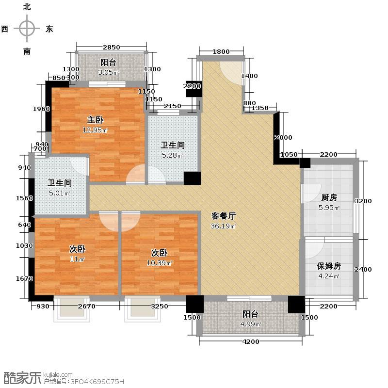 山水华景127.89㎡户型3室1厅2卫1厨