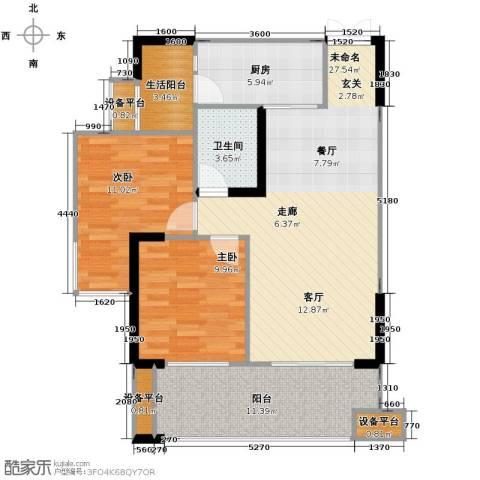 华宇春江花月2室0厅1卫1厨75.40㎡户型图