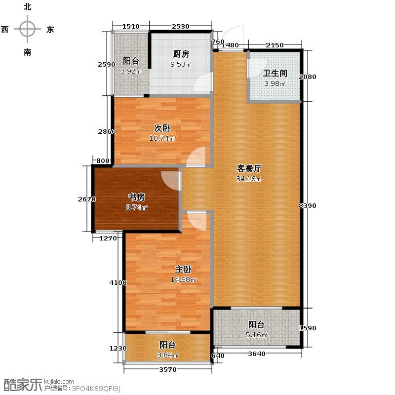 铂悦108.89㎡3#楼K户型3室2厅1卫