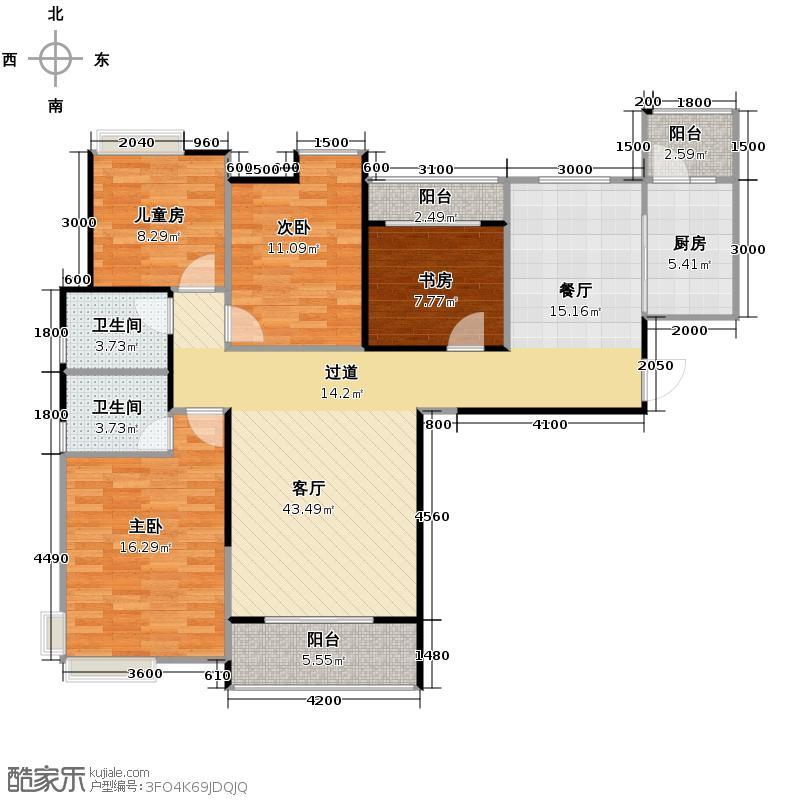 F、空港中心城134.00㎡H9平面图户型4室2厅2卫