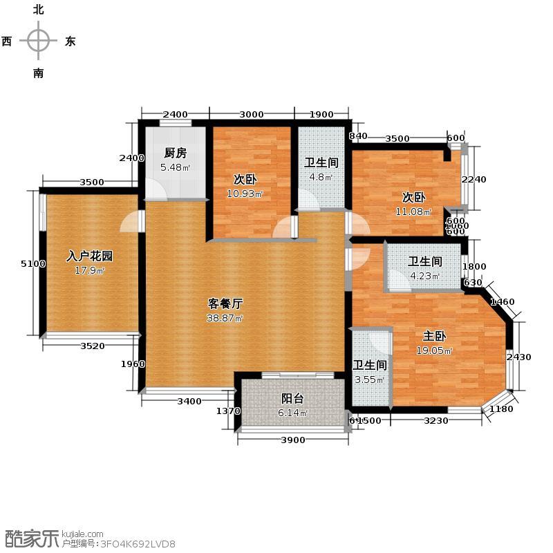 滨江一号147.10㎡6#楼2单元03奇数层三室户型3室1厅3卫1厨