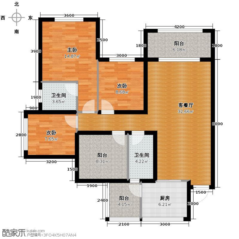 金科廊桥水乡98.18㎡二期D6栋标准层2号房D7栋标准层6号房户型3室2厅2卫
