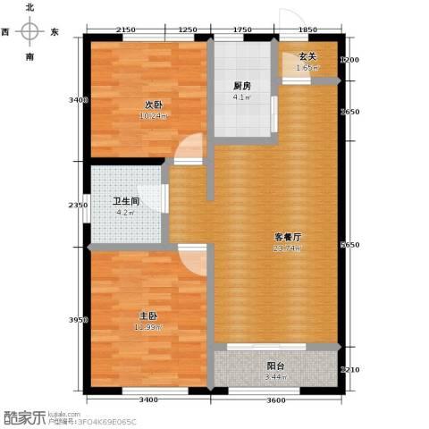 中海紫御华府2室2厅1卫0厨90.00㎡户型图