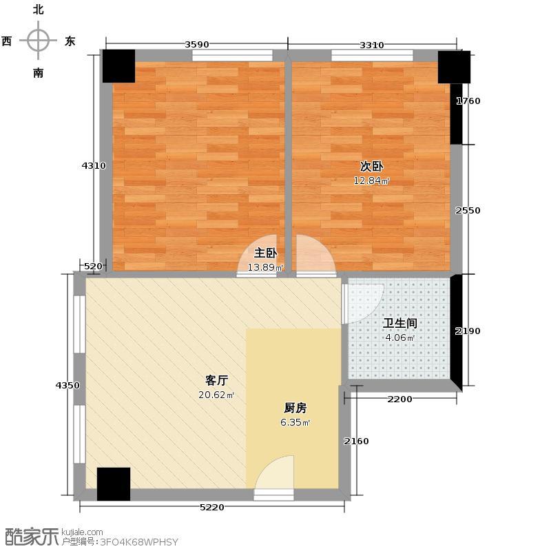 万通金府国际72.71㎡01户型2室1厅1卫