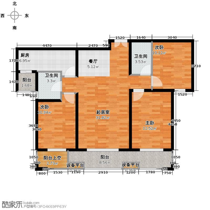 唐山万达广场104.32㎡户型10室