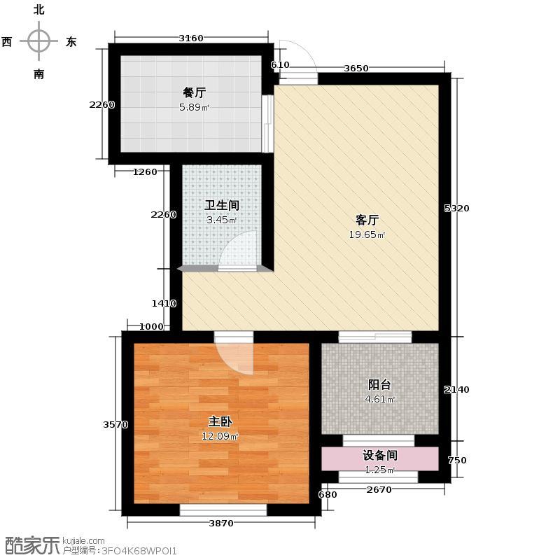 新湖香格里拉69.00㎡高层B户型1室2厅1卫