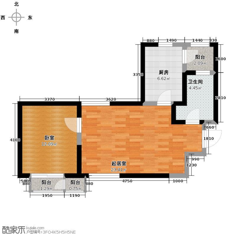 格调艺术领地69.00㎡6-7-801户型1室1厅1卫