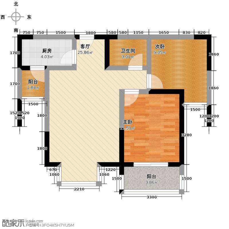 万象未央79.55㎡2号楼A4户型2室2厅1卫