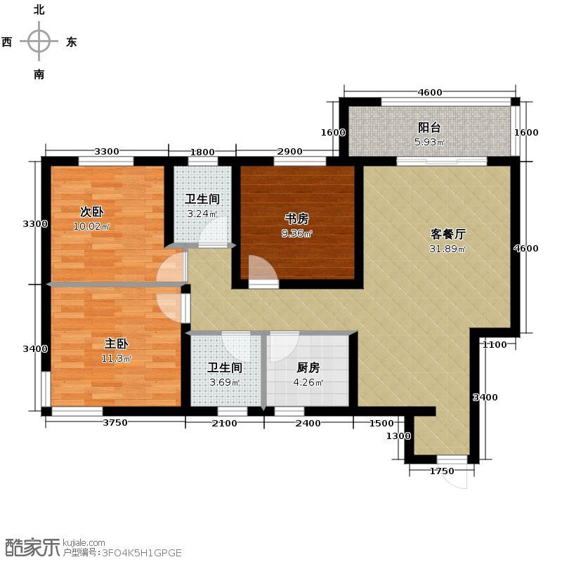 高新左岸117.28㎡A户型3室1厅2卫1厨