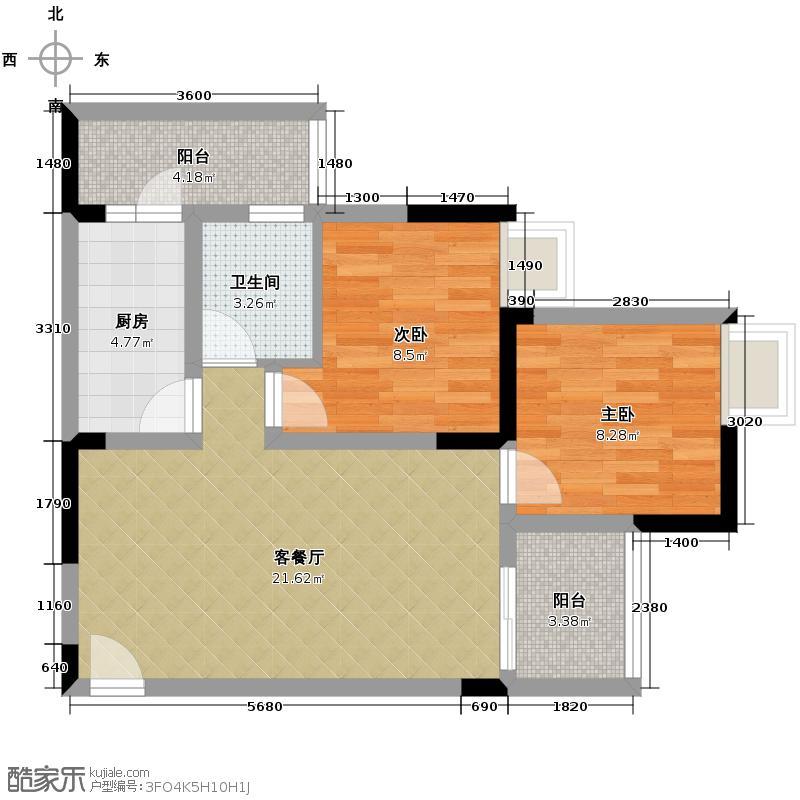 大鼎世纪滨江61.11㎡一期4栋标准层3、4号房户型2室2厅1卫