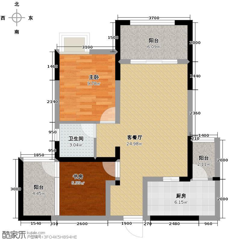 绿地国际花都78.00㎡三期H3型可变2+1面积78赠送11平米户型10室