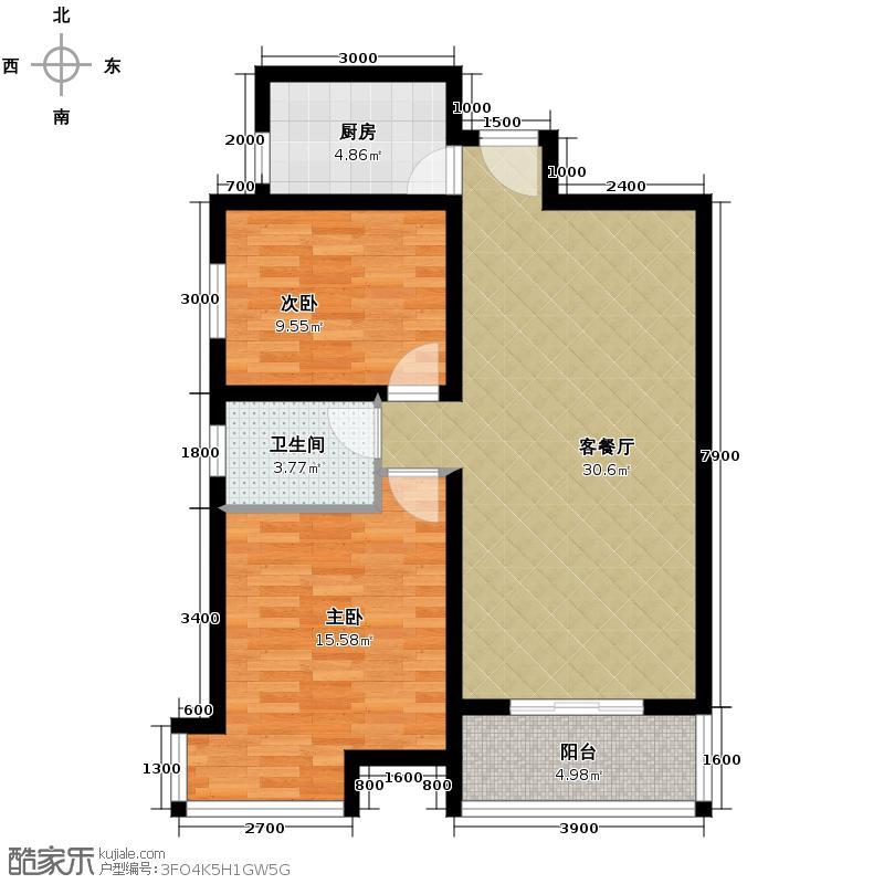 福邸铭门91.48㎡7号楼D户型2室1厅1卫1厨