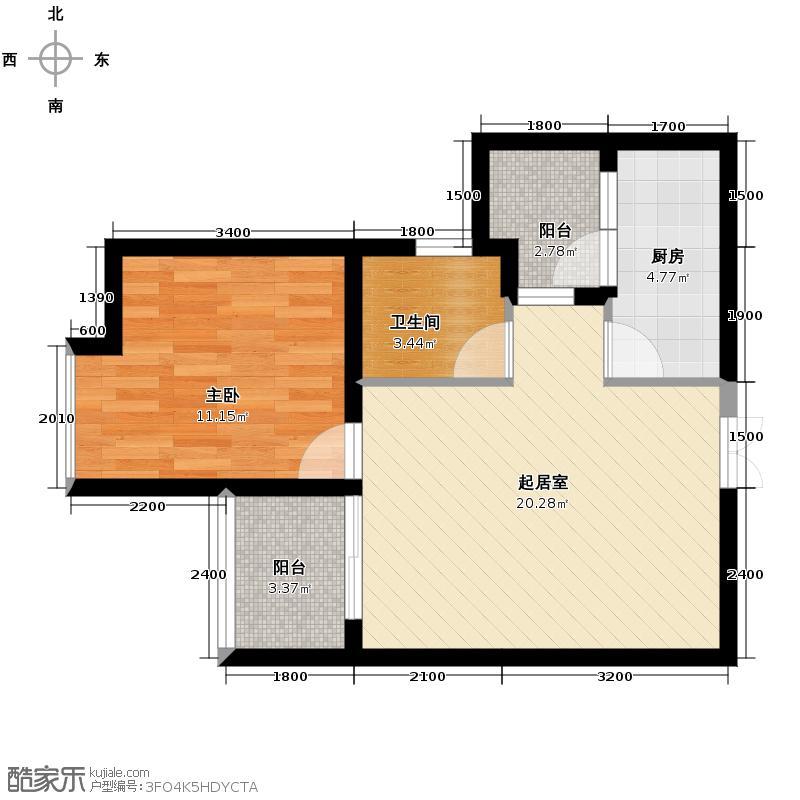 东方剑桥47.59㎡三期7号楼标准层2、5、8号房户型1室2厅1卫