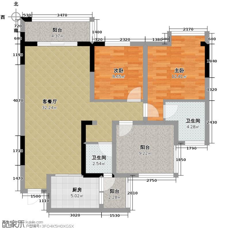 中铁塔米亚97.37㎡J3户型2室2厅2卫