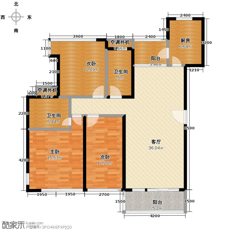 金地格林上院三期116.34㎡户型3室1厅2卫1厨