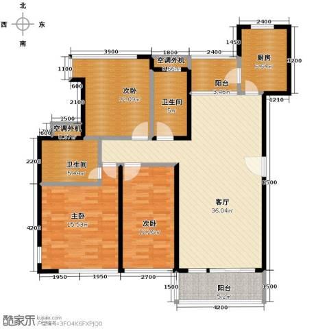 金地格林3室1厅2卫1厨145.00㎡户型图