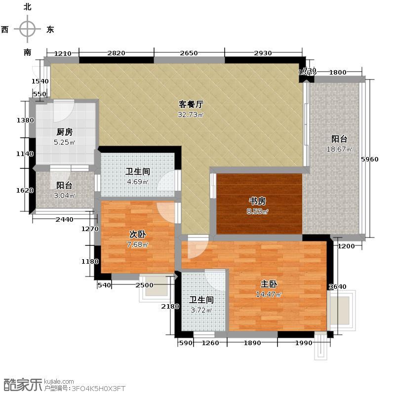 融汇温泉城88.44㎡8号楼3号户型2室1厅2卫1厨
