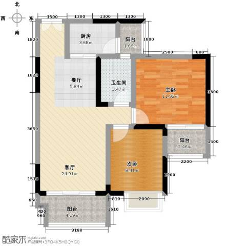 春江花月2室1厅1卫1厨90.00㎡户型图