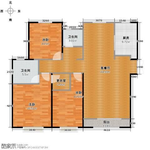 路劲太阳城3室2厅2卫0厨141.00㎡户型图