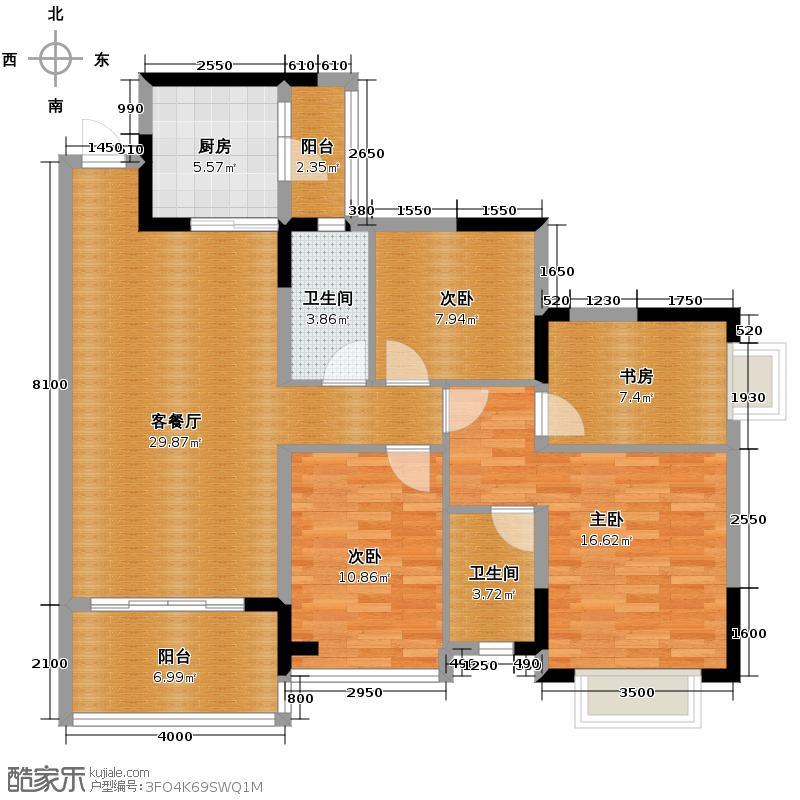 恒大城101.00㎡高层4户型4室1厅2卫1厨