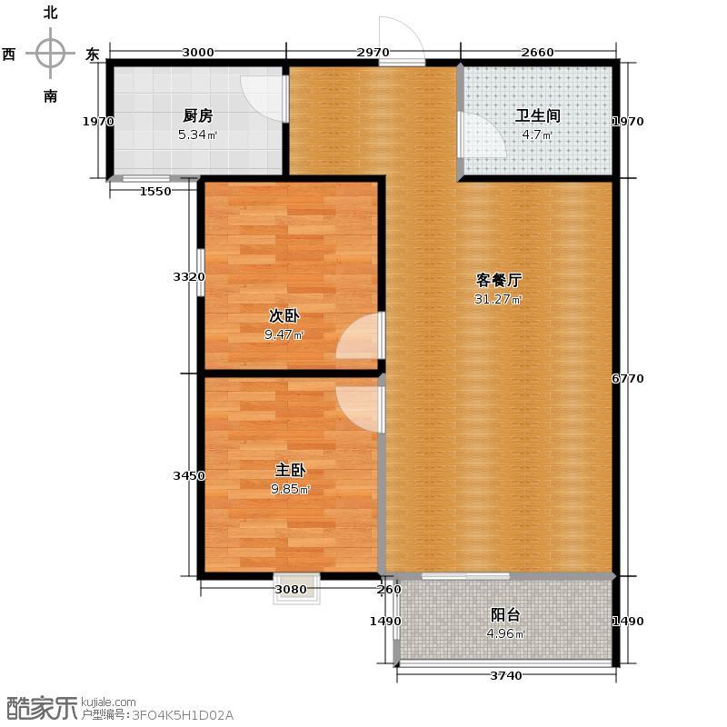 宏源国际公寓92.04㎡F户型2室2厅1卫